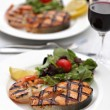 Grilled salmon steak with shrimps — Stock Photo #51880023