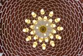 Beautiful mosaic design on ceiling . Ornaments on the walls and chandelier composition — Стоковое фото