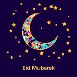 Muslim community festival, Eid Mubarak celebration greeting card decorated with golden stars and moon on background. Ramadan kareem. — Stock Vector #77045941
