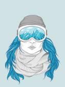 Snowboarder girl — Stock Vector