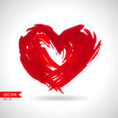 Hand-drawn painted red heart — Stock Vector