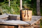 Old wooden bucket — Stock Photo