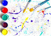 Paintbrush and gouache paint abstract art — Stock Photo