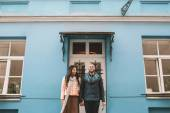 Young couple walking in the city in a day — Stock Photo