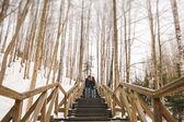 Casal de hipster beijando na escada de madeira em winter park — Fotografia Stock