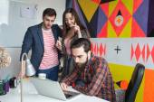 Yong hipster team working in modern office — Stock Photo