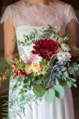Bridal bouquet with succulent — Stock Photo