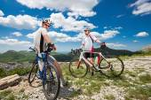 Two cyclists in the mountains  — Stockfoto