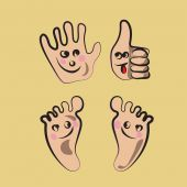 Happy Hands And Feet — Stock Vector