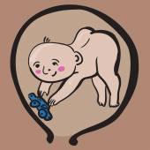 Baby Boy In Womb — Stock Vector
