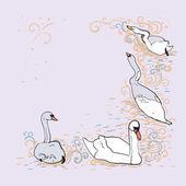 Background With Swans — Vector de stock