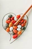 Heart, stones and pencil — 图库照片