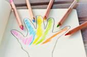 Hand colored, colored pencils — Stock fotografie
