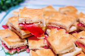 Warm focaccia with parma ham and mayonnaise — Stock Photo