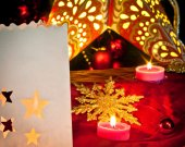 Decorations for Christmas : stars , lights , candles and balls — Stock Photo