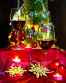 Wine and decorations for Christmas — Stock Photo