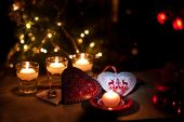 Hearts , decorations and christmas lights — Стоковое фото