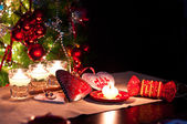 Hearts , decorations and christmas lights — Stock Photo