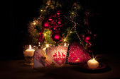 Hearts , decorations and christmas lights, merry christmas — Stock Photo