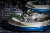 Table set for christmas dinner with decoration blue and silver — Стоковое фото