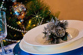 Table set for christmas dinner with decoration blue and silver — Stock Photo
