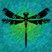 Silhouette of a dragonfly painted by blots. — Stock Vector