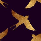 Seamless pattern with golden birds. — Stockvektor
