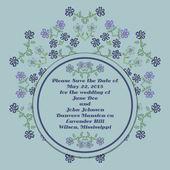 婚礼邀请卡与花卉元素 — 图库矢量图片