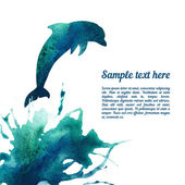 Vector card template with watercolor dolphin . — Stock Vector
