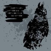 Grunge ontwerp met blots silhouet van mens en dier en Latijnse aforisme. — Stockvector