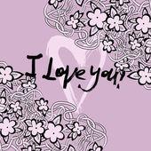 Grunge valentine card with hand drawn text.  — Stockvektor