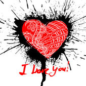 Grunge valentine card with hand drawn text. — Wektor stockowy