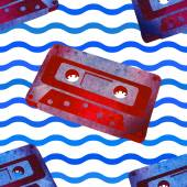 Seamless pattern - retro watercolor audiocassette. — Stock Vector