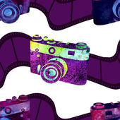 Seamless pattern - retro watercolor camera. — ストックベクタ