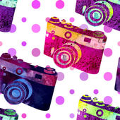 Seamless pattern - retro watercolor camera. — Stock Vector