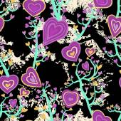Seamless pattern with heart flowers — Stock Vector