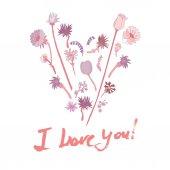 Cartolina di San Valentino del grunge con testo disegnato a mano. — Vettoriale Stock