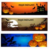 Three Halloween banners. — Stock Vector
