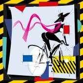 Cubismfashion girl by bicycle — Vector de stock