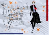 The fashionable woman goes down the street, autumn — Stock Vector