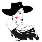 Modern girl, sketch, red lips, white background, fashionable hairstyle — Stock Vector