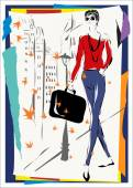 The fashionable woman — Stock Vector