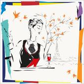 Das durchdachte Mädchen sitzt mit einer Zigarette im café — Stockvektor