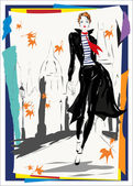 The fashionable woman goes down the street, fall, autumn — Stock Vector