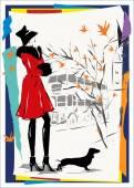 Modern woman goes down the street, autumn — Stock Vector