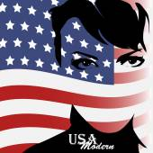 Pretty woman with american flag — Stock Vector