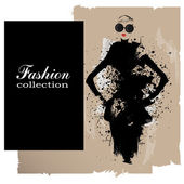 Fashion girl in sketch-style. — Stock Vector
