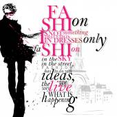 Fashion quote with modern girl — Vettoriale Stock