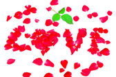 Love of rose petals isolated on white background — Stock Photo