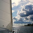 Sailing over the river Haringvliet with beautiful clouds — Stock Photo #51929919